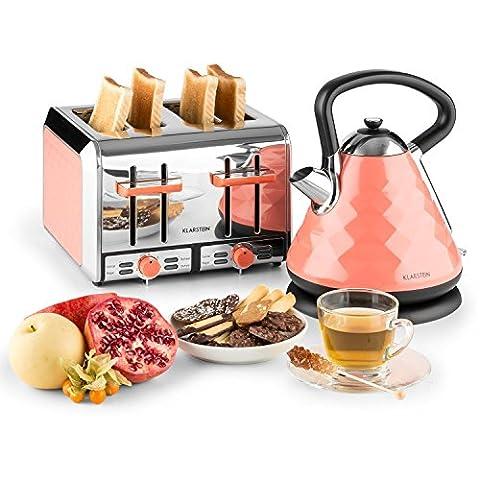 Klarstein Curacao Coral Frühstücksset Wasserkocher + 4-Scheiben-Toaster (2000 Watt, 360° Basisstation, 1,7 Liter Wasserkocher, 1500 Watt Toaster, 4 Schlitze, 7 Bräunungsstufen) rosa