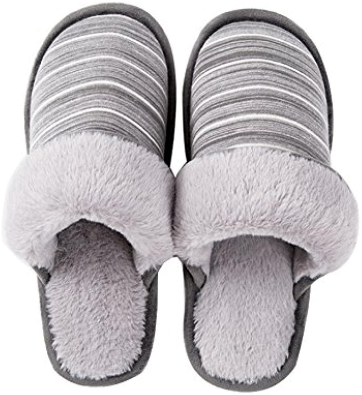 Pantoffeln  BAINASIQI Warme Baumwolle Hausschuhe Indoor Streifen Slipper Winter Plüsch Rutschfeste Slippers für
