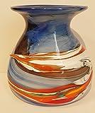 Vase ovale Form, bauchige farbige moderne Glasvase bunte dekorative Blumenvase mit Dekor aus farbigem Glas, mehrfarbig blau-beige marmoriert Tischdekoration mundgeblasen Höhe ca. 17 cm Oberstdorfer Glashütte