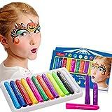 Kits de peinture pour le visage Minikiki, 12 couleurs, peinture pour le corps, maquillage pour enfants, maquillage pour enfants, idéal pour Halloween, Noël, fêtes d'anniversaire...