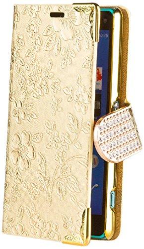iCues Sony Xperia Z3 Compact Chrom Blume Buch - Gold - Exklusives Design mit eingelassenen Strass Steinen + Displayschutz