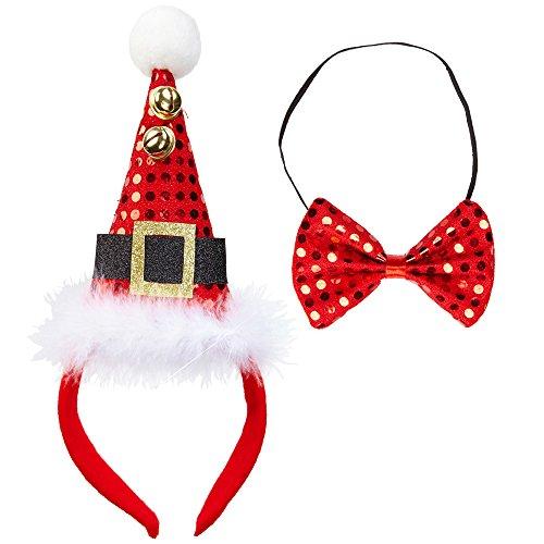 Widmann 04158 Mini Weihnachtsmannhut mit Glöckchen und Fliege, Zubehör Verkleiden und Kostüme, rot