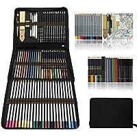 Professionnel Colore Crayons de Dessin Art Set - Malette dessin Inclus pastel, aquarelle, Charbon de bois,métallique crayons de couleur et materiel dessin,Idéal Cadeaux pour Adulte Enfant