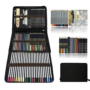 Profesional Lápices de colores Conjunto de Dibujo Artístico,lapiz dibujo y Bosquejo Material Set,Incluye lápices…