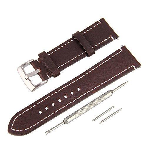 BEWISH 23mm Lederarmband Uhrenarmbänder Kalbsleder Ersatzband Echtes Leder Uhrarmband gebürstete Edelstahl Metall Faltschließe Wechselarmband Uhr Armband Wrist Strap Band Replacement gefederte Stangen