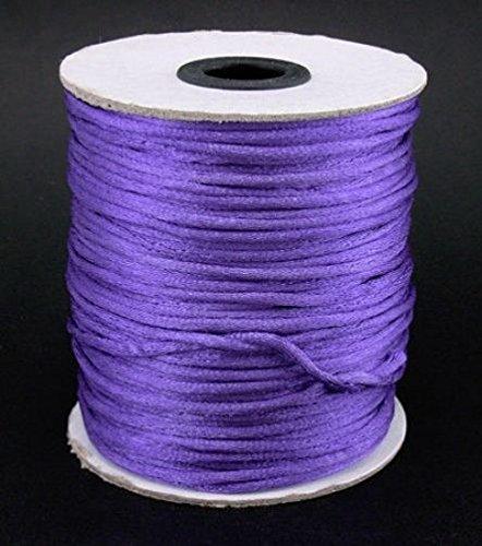 10m, colore: viola seta Corda 2mm. Kumihimo/Shamballa/nodi/Macrame braccialetto/cavo/filo/E/cordoncino per
