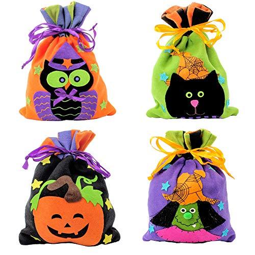 tion Bar Mall Pack Kekse Apple Tragetaschen Ghost Festival Cartoon Kürbis Süßigkeiten Jute Tasche für Kinder Halloween Motto Party Geschenk gefallen, 4 Stile (B) ()