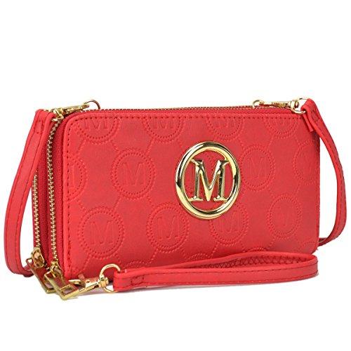 Maya Karis Purse Damen Handtasche mit Doppelreißverschluss, funktional, leicht, Umhängetasche Portemonnaie für Damen, modische Geldbörse für Frauen 7.5