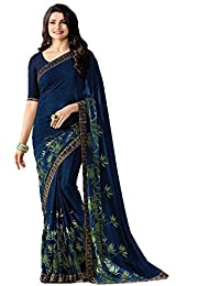 5f9d8d1f36d651 Rudra Fashion Women's banglory Georgtte Saree With Unstitched with Blouse  Piece