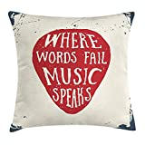FAFANI Rock Music Throw Pillow Cushion Cover, Where Words Fail Music Speaks Quote Musical Slogan Hand Drawn Pick, Decorative Square Accent Pillow Case, 18 X 18 Inches, Beige Red Slate Blue