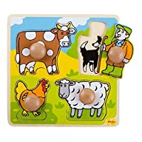 Bigjigs Toys My First Wooden Chunky Peg Puzzle (Farm)
