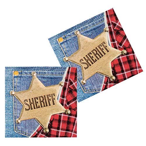 PARTY DISCOUNT Servietten Wild West Sheriff, 33 cm, 12 St.
