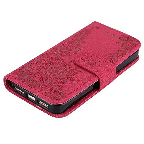 iPhone 5 / 5S / SE (4.0 Zoll) hülle , PU Leder Tasche Stil Schutz Geldbeutel Schale Kunstleder Flip Case mit Standfunktion und Kartenfächer Die Hohe Anfire der Qualität Cover für iPhone 5 - Grün Rot