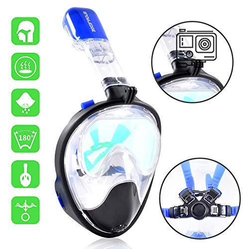 Snowledge Tauchmaske Schnorchelset Erwachsene, Easybreath Schnorchelmaske mit 180° HD Sichtfeld Vollgesichtsmaske Antibeschlag Anti-Lecker Schnorchelmaske für Gopro Kamera
