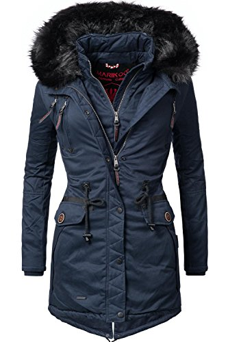 Marikoo Damen Winter Mantel Winterparka Rose (vegan hergestellt) Blau Gr. L