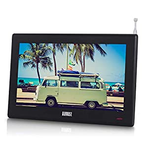 August DA100C – 10″ Portable TV with Freeview – Add a Small Screen Digital LCD Television to Your Car, Kitchen or Bedside Table – AA, Mains or 12V Charger (Not Included) Powered – [ENERGY CLASS A]