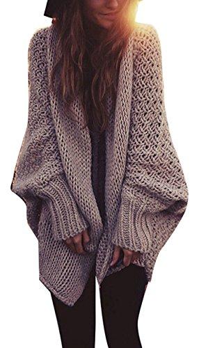 OMUUTR Damen Damen Strickjacke Wasserfall Oversize Cardigan Langarm Stricken Sweatshirt Lang Mantel Warm Jacke Pullover Outwear Outdoorjacke S/M/L 36/38/40