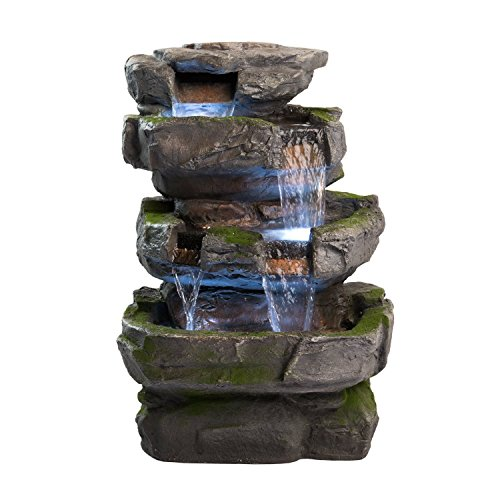 Wilson Rock Fountain: Atemberaubendes Outdoor-Wasserspiel für Garten und Terrasse. Wetterfest mit LED-Leuchten und Pumpe. -