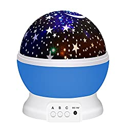 Rotating Moon Star Baby Night Light Projector For Christmas & Festival Gift,wawj 3 Modes Galaxy Constellation Children Projection Lamp For Sleeping Bedroom (Blue)