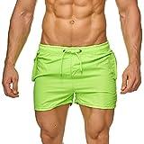 ArizonaShopping - Badehosen Topway Herren Badehose Bunte Bermuda Shorts Kurze Schwimmhose H2328,Neon Grün,XXL