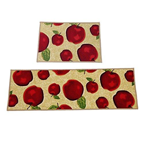 Ozzptuu Set von 2Rechteck Rot Apple Küche Bereich Teppiche Matten mit Rutschfester Latex Rückseite Nachttisch Fenster Fußmatte DIE Sauberlaufmatten - 10 X 14 Bereich Teppich