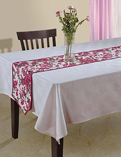 Indische Floral Ente Baumwoll-Tischläufer - 33 x 182 cm - Hot Pink, braun und weiße Rose Pink Floral Tischläufer