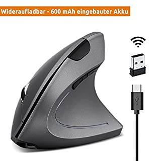 YIMALER Wiederaufladbare Vertikale Maus - 600 mAh Eingebaute Akku Ergonomische Optische Funkmaus mit Umschaltbar 3 DPI (800 1600 2400) Kabellos Vertical Mouse mit 5 Taste für Windows und OS (Grau)