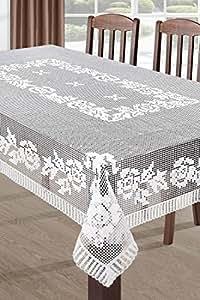 110x160 cm weiße Tischdecke Tischtuch Spitze Modern Folk pflegeleicht praktisch elegant Material Natura 3