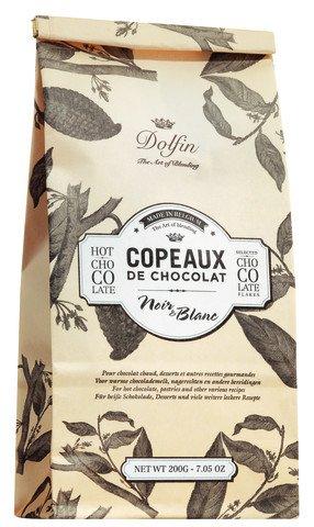 Dolfin Trinkschokolade-Flocken schwarz & weiß 200 g