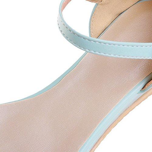 AalarDom femme Ouverture D'Orteil à Talon Bas Couleur Unie Boucle Sandales Bleu