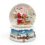Dekohelden24 Wunderbare Schneekugel, Santa mit Rentier, Ø 6,5 cm