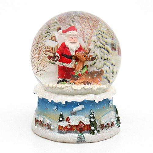 Wunderbare Schneekugel, Santa mit Rentier, Ø 6,5 cm (Rentier-schneekugel)