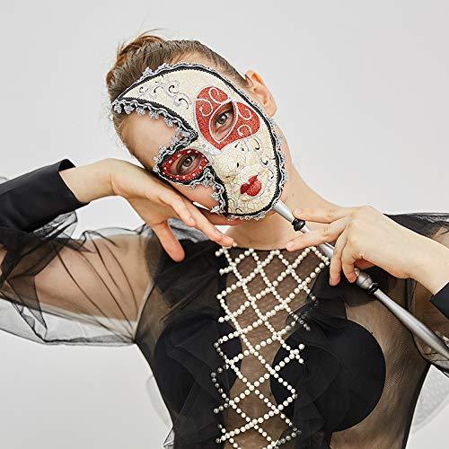 Pest Doktor Venezianische Kostüm - MONWSE Gesicht Venezianischen Maske auf Stick für Dame Maskerade Halloween/Weihnachten/Hochzeit Karneval Party kostüme Zubehör
