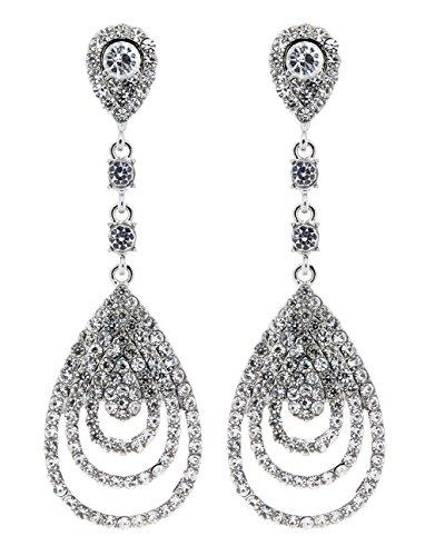 Ohrclips - versilbert mit klaren Kristallen - Evita von Bello London