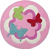 ESPRIT Butterfly Party Moderner Markenteppich, Acryl, Rosa, 150 x 150 x 1 cm
