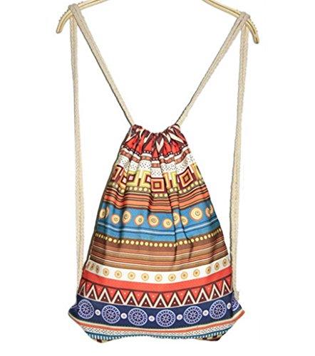 Imagen de feoya  bolsa étnica bohemia tipo saco para mujer con cordones de deporte cuerdas
