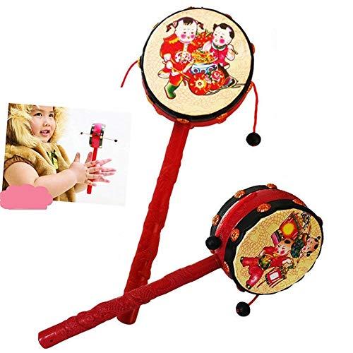 Schöne Alte Chinesische For Kinder Rassel Trommel Musikinstrument Traditionelle Glückliche Junge Und Mädchen Gesegnet Handbell Rassel Spielzeug (Color : Red)