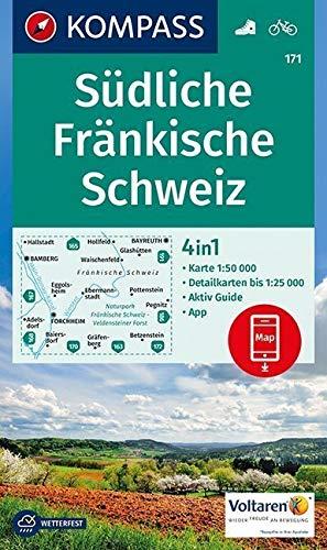 KOMPASS Wanderkarte Südliche Fränkische Schweiz: 4in1 Wanderkarte 1:50000 mit Aktiv Guide und Detailkarten inklusive Karte zur offline Verwendung in ... 1:50 000 (KOMPASS-Wanderkarten, Band 171)