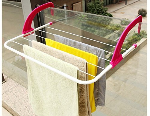 HOUZIE Multifunction Foldable Outdoor Clothes Drying Rack Bathroom Window Grill Sun Shine Stand