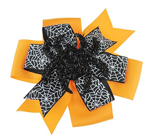 Filles Super mignon Grande 12 cm Orange et Noir Toile d'araignée Imprimé ruban Pince à cheveux