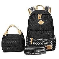 Lmeison Teens Girls Backpack, Canvas School Backpack Set 3 in 1 Student Bookbags Laptop Backpack Travel Daypack Shoulder Bag (BlackSnowflake-3pcs)