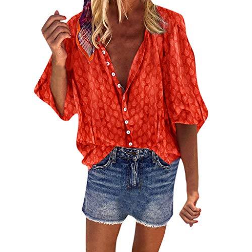 Camisa Suelta Boho para Mujer Talla Grande Casual Cuello en V 3/4 de Manga Larga Camisas Lunares Blusas de otoño Blusa Naranja M