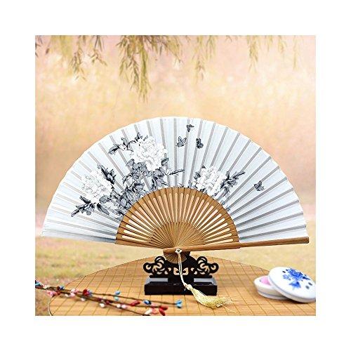 Junhongzhang stampa di seta seta classica grande fan della donna in stile cinese antichità la tecnologia ha reso la seta ventola pieghevole,d