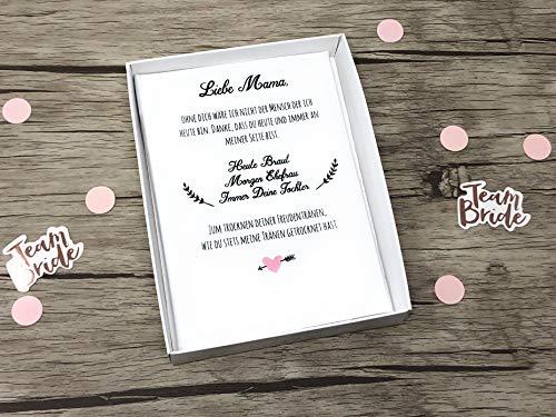 Hochzeit Geschenk Brautmutter mit Text - Stofftaschentuch für Freudentränen (Mutter Braut-taschentuch Der)