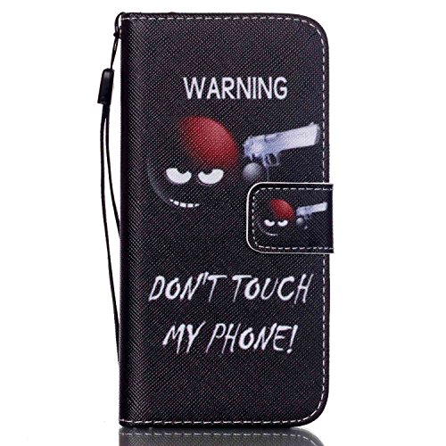 Custodia per Apple iPhone 4s,TOCASO Bianco Flip Wallet Case PU Pelle [Strap/Lanyard] Caso per Apple iPhone 4s Portafoglio Cover Ultra Sottile Leather Protettivo Cases Covers Shell ID Carta Slots Caso  Gun,Black