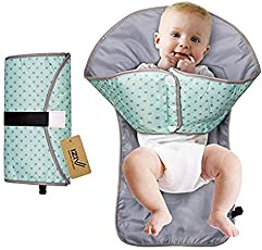 Babymoon 3 in 1 Deluxe Portable Diaper Changing Station, Diaper Clutch & Diaper-Time Playmat with Redirection Barrier, Hands Soft Flexible Travel Mat Folds Waterproof Mat Bag