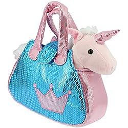 Bolso brillante azul y rosa con un Unicornio rosa de Peluche- 28cm Calidad Soft