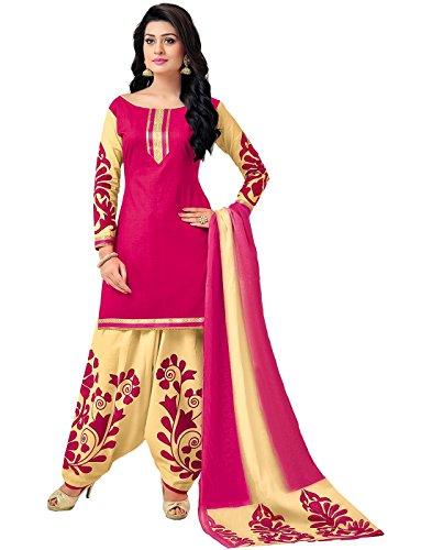 Jevi Prints Pink & Beige Unstitched Cotton Floral Punjabi Suit Dupatta with Mangalgiri Border (GP-112)