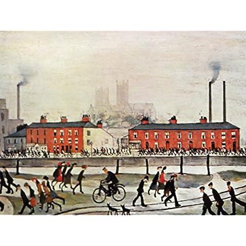 L S Lowry specialità Stampa/Picture–Lincoln–su una struttura in lino, misura media, Image Plus Small Border, 16 x 12inch