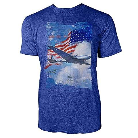 SINUS ART® American Air Force Herren T-Shirts stilvolles blaues Cooles Fun Shirt mit tollen Aufdruck